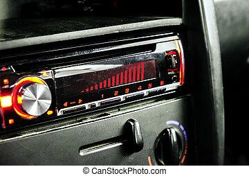 car radio front volume closeup