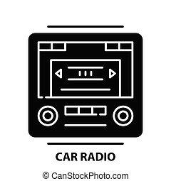 car radio icon, black vector sign with editable strokes, concept illustration