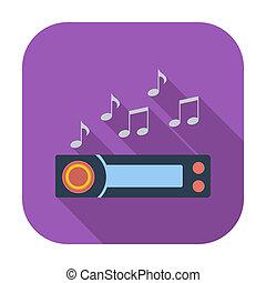Car radio icon. - Car radio. Single flat color icon. Vector...