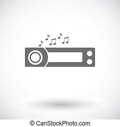 Car radio icon. - Car radio. Single flat icon on white...