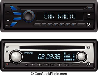 Car radio set on a white background. Vector illustration.