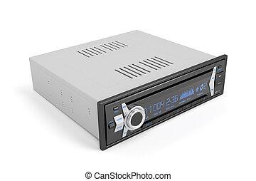 Car radio - Car audio player on white background