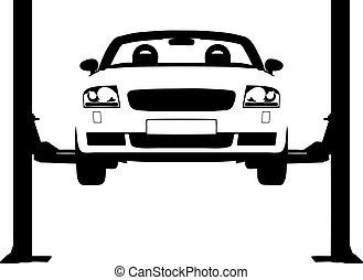 Car Ramp - Illustration of a car on a hydraulic ramp