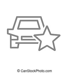 Car rating, auto with star line icon. Transportation service review, add to favorites, taxi feedback symbol