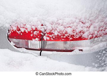 Car Rear Light in Snow