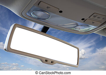 Car rear view mirror. - Blank rear view mirror against blue...