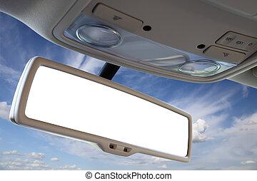 Car rear view mirror. - Blank rear view mirror against blue...