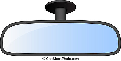 Car rear view mirror on white background