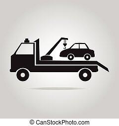 car, reboque, caminhão, ilustração