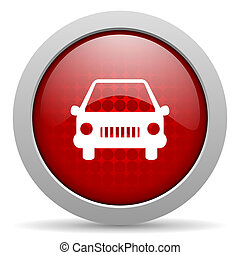 car red circle web glossy icon