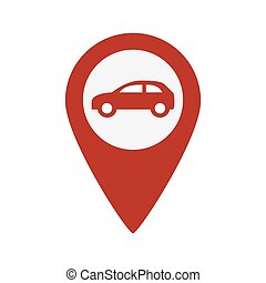 Car red pointer vector icon