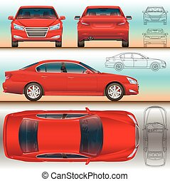 car red set illustration all view color and outline drawing...