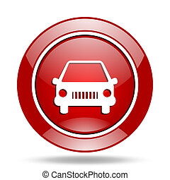 car red web glossy round icon