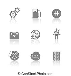 Car related icons on white