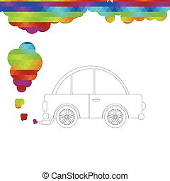 Car releasing colored smoke