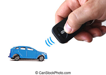 Car remote control - Hand demonstrating car lock using...