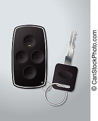 Car remote key with circle shaped buttons