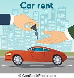 Car Rent. Hand Passing Car Keys. Automobile Dealer. Vector illustration