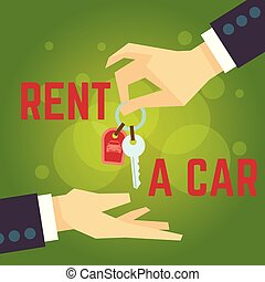 Car rent vector illustration. Hand holding car key. Flat style concept