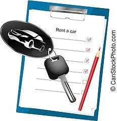 Car rental agreement - Car rental contract signature and car...
