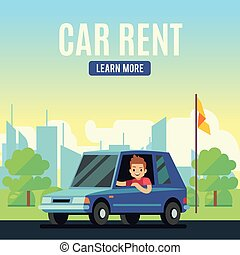 Car rental poster concept. Cartoon-style vector young man on...