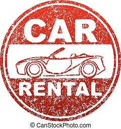 Car rental red rubber stamp grunge template with sihouette of cabriolet