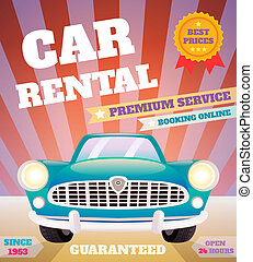 Car rental retro poster - Car rental premium service...