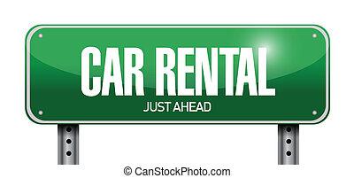 car rental road sign illustration design over a white...