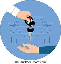 Car rental round blue icon