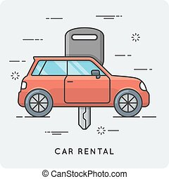 Car rental. Thin line concept. Vector illustration