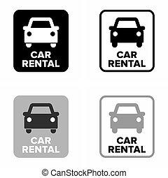 Car rental, transport information sign