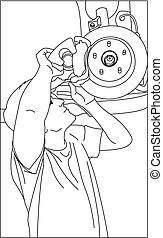 Car Repair. A Mechanic Repairs The Wheel, Hub, Changes The ...