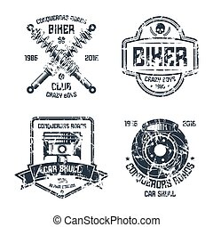 Car repair and biker club emblems