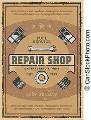 Car repair and garage service retro poster