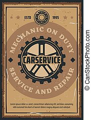 Car repair and mechanic service retro poster