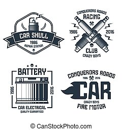 Car repair and racing emblems