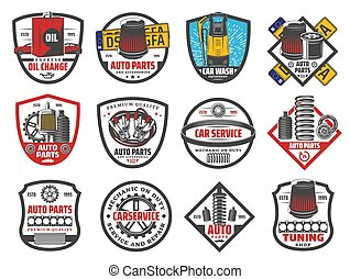 Car repair and vehicle diagnostic service icons