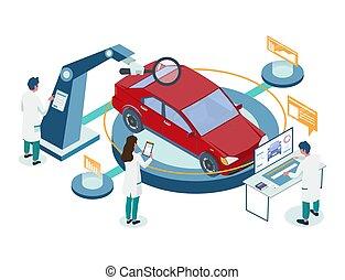 Car repair auto diagnostic service vector isometric illustration