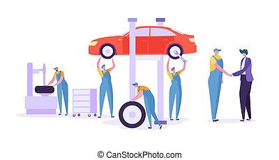 Car Repair Auto Service. Professional Mechanic Characters in...