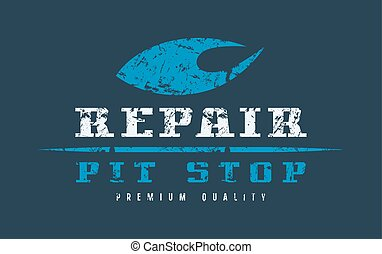Car repair badge with shabby texture