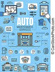 Car repair, diagnostic mechanic service station
