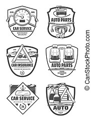 Car repair diagnostic service and auto parts icons
