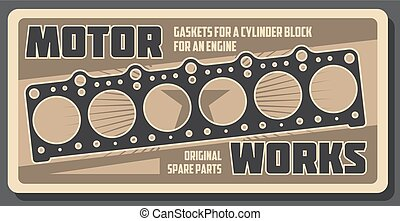Car repair engine gasket, spare parts shop - Car service or...