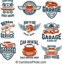 Car repair, garage, auto service emblems. Design elements for logo, label, sign.
