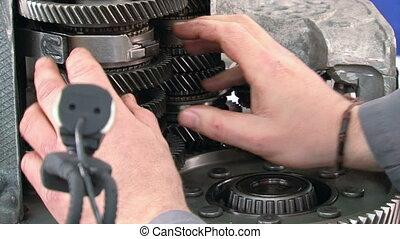 Car Repair Gearshift Car Demonstrat - Mechanic giving a...