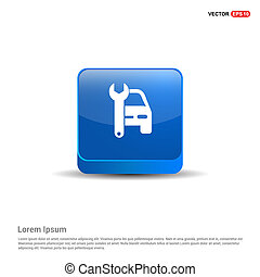 Car Repair Icon - 3d Blue Button