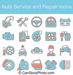 Car repair icons. Vector illustration