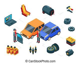 Car repair. Isometric car parts vector concept. Autos, tires, door, gas tank, battery and mechanics
