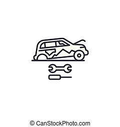 Car repair linear icon concept. Car repair line vector sign, symbol, illustration.