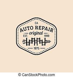 Car repair logo with crankshaft illustration. Vector vintage hand drawn garage, auto service advertising poster, card etc.